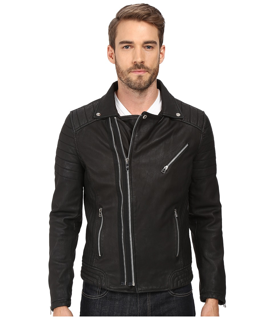 Goosecraft Sheep Skin Drum Biker Jacket (Black) Men