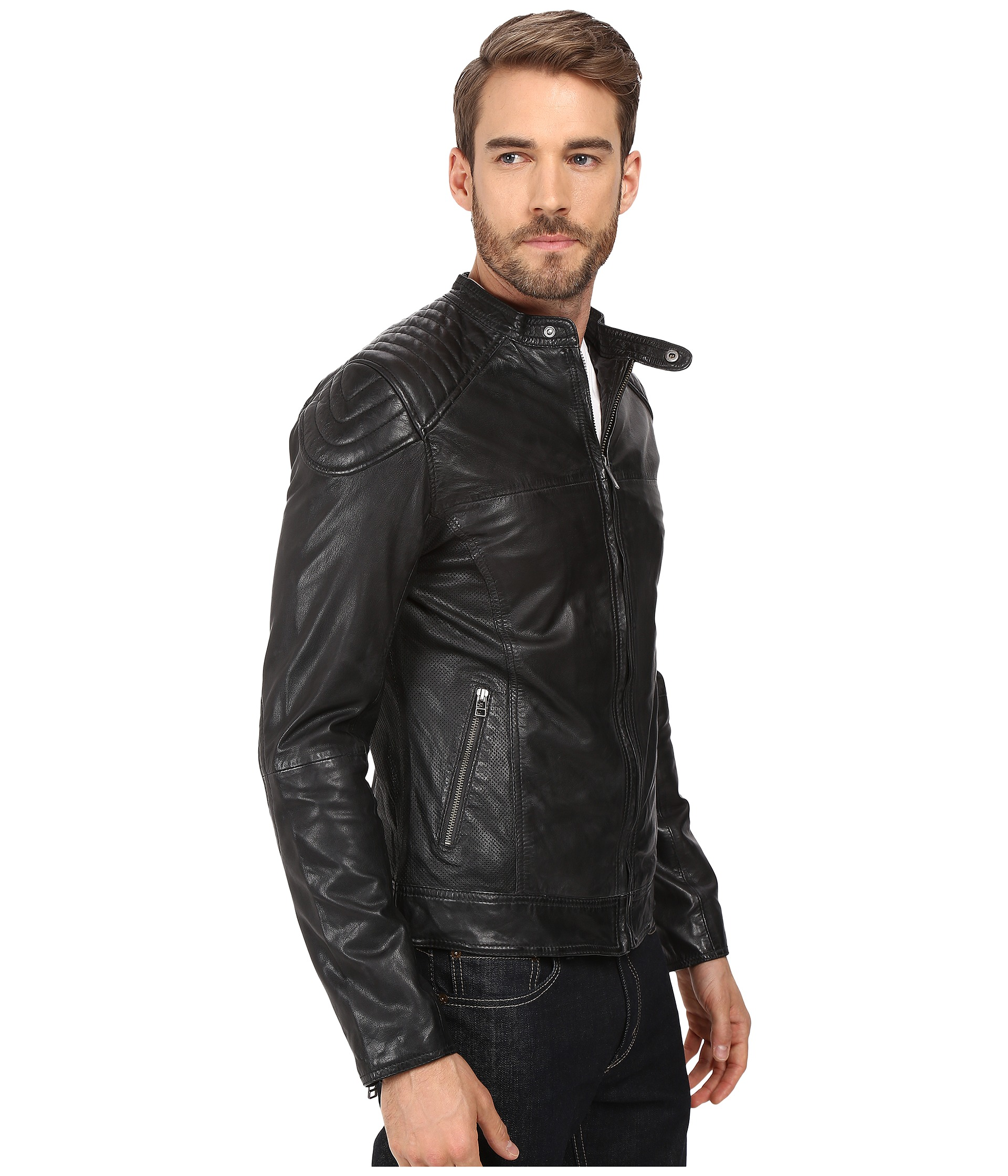 Goosecraft Sheep Skin Biker Jacket 919 - Zappos.com Free Shipping ...