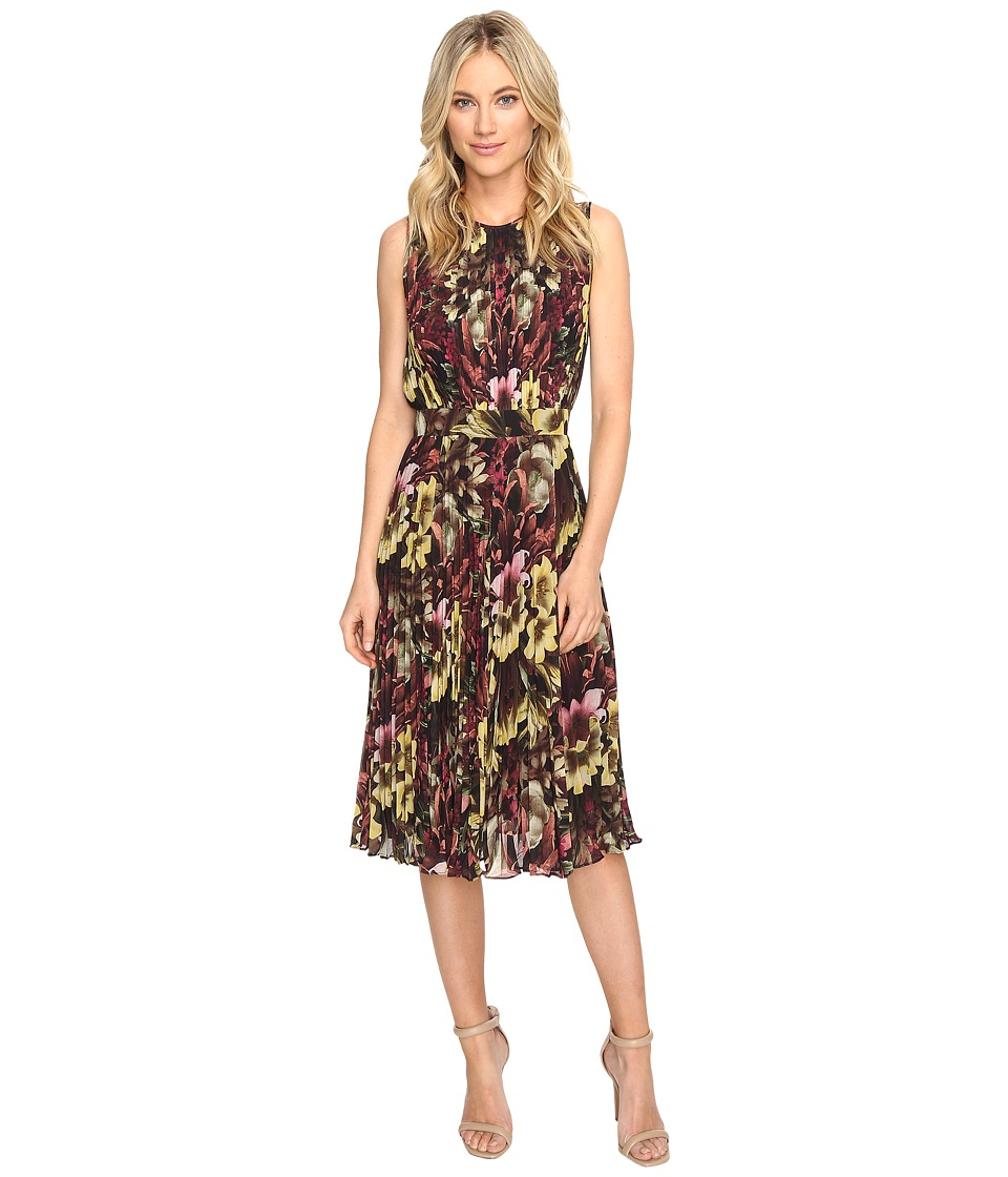 CATHERINE Catherine Malandrino Printed Sleeveless Pleated Dress (Winter Floral) Women