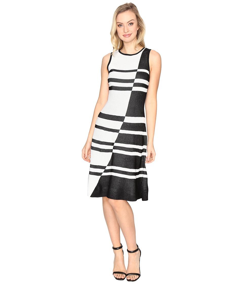 CATHERINE Catherine Malandrino Sleeveless Jacquard Fit Flare Dress (Black/White) Women