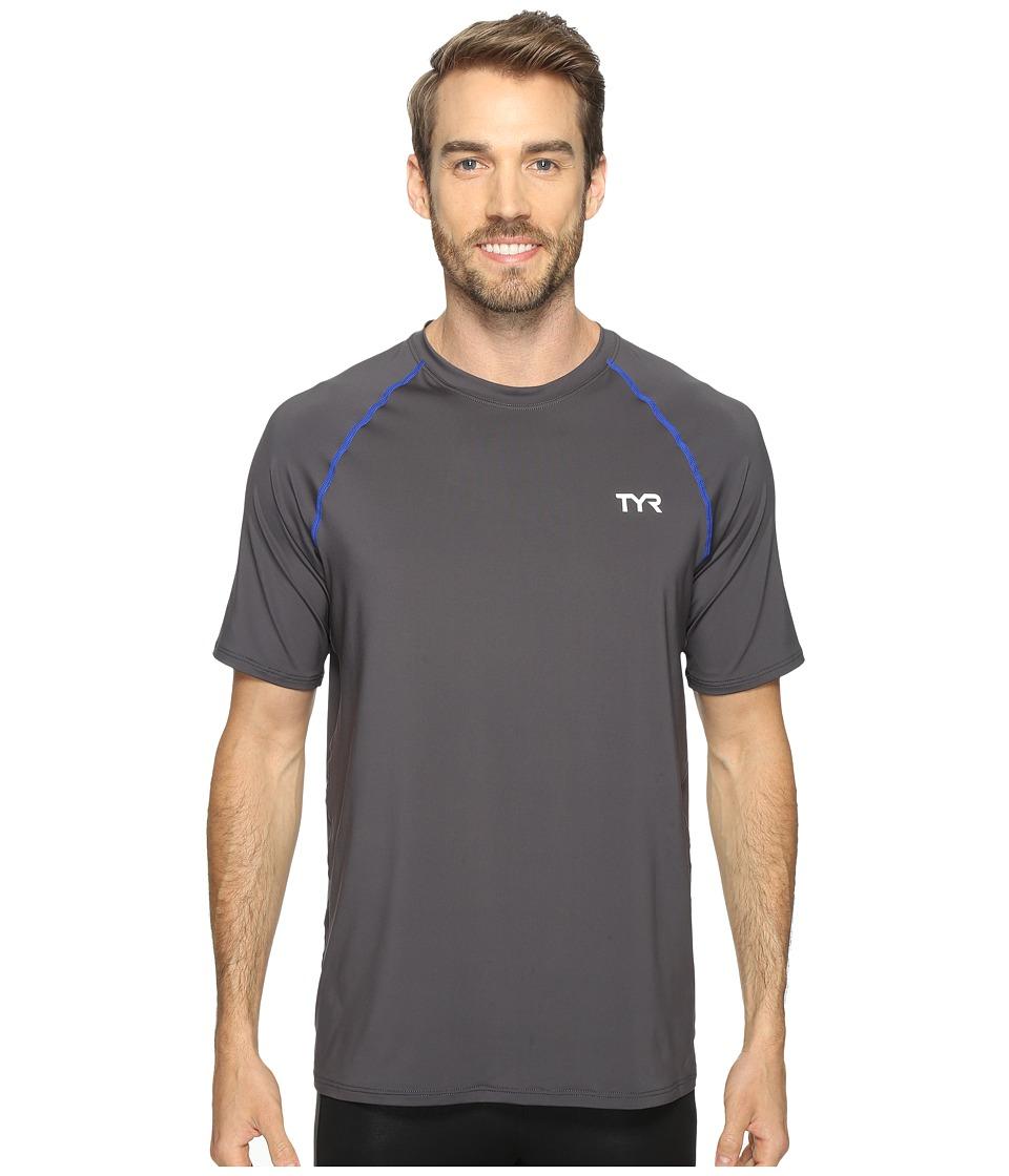 TYR Short Sleeve Rashguard (Grey) Men