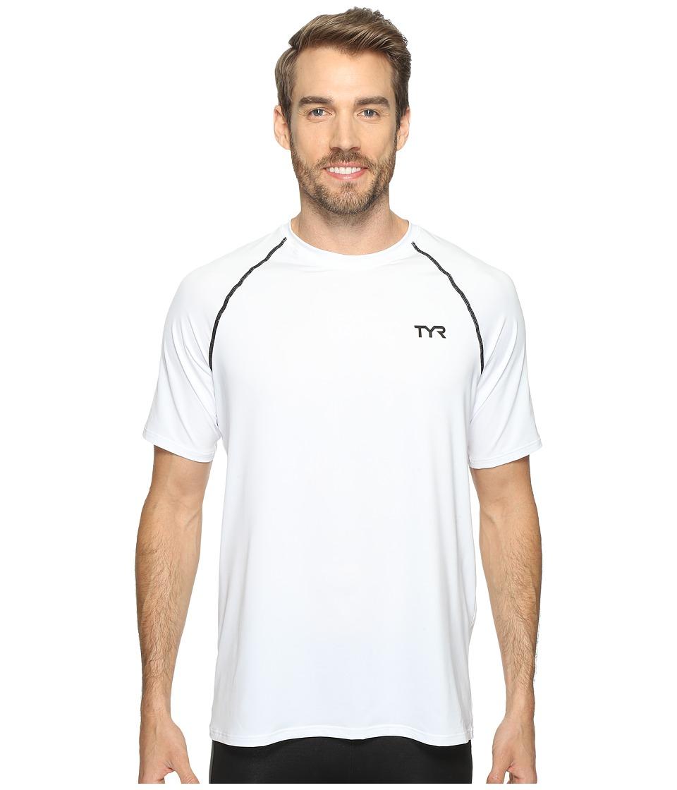 TYR Short Sleeve Rashguard (White) Men