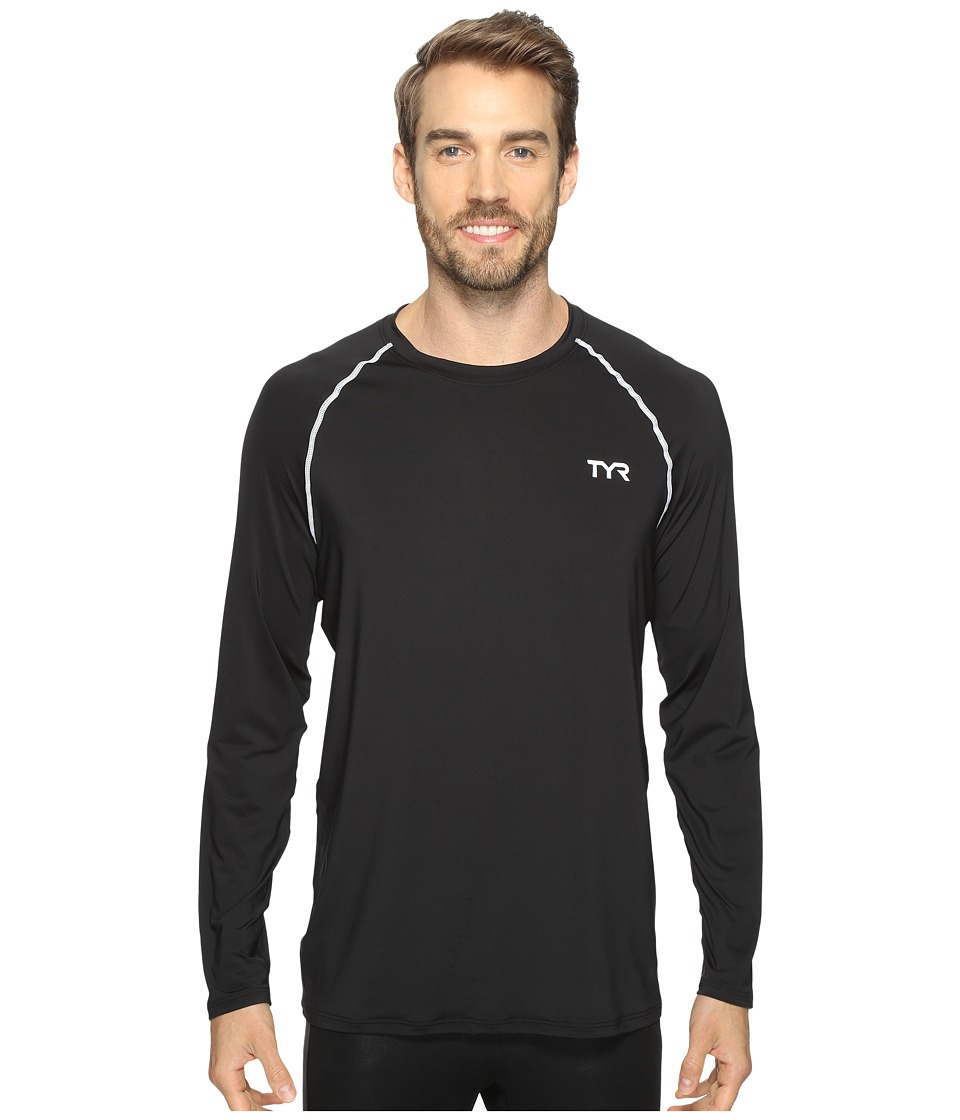 TYR Long Sleeve Rashguard (Black) Men's Swimwear