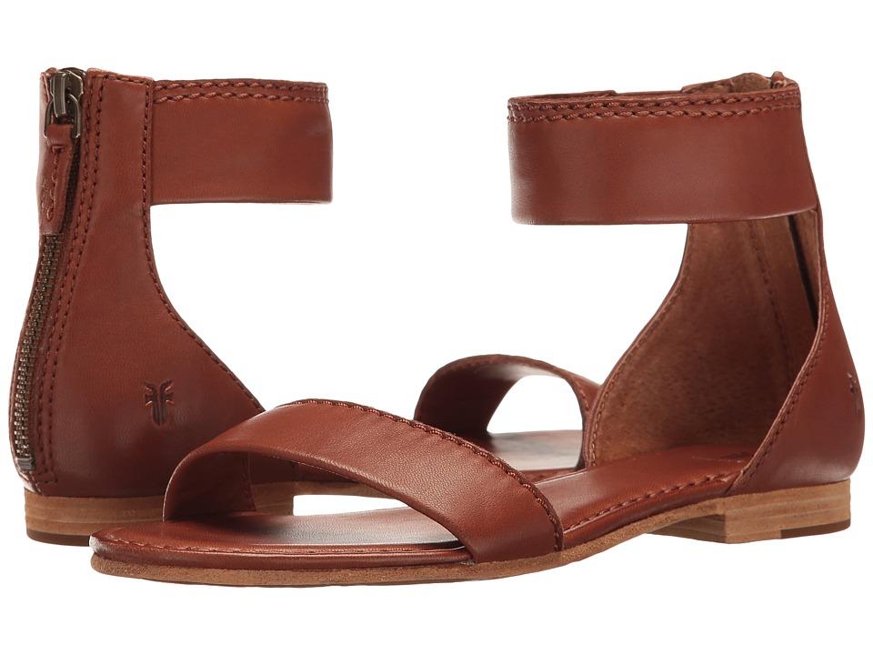 Frye Carson Ankle Zip (Cognac Soft Nappa Lamb) Sandals