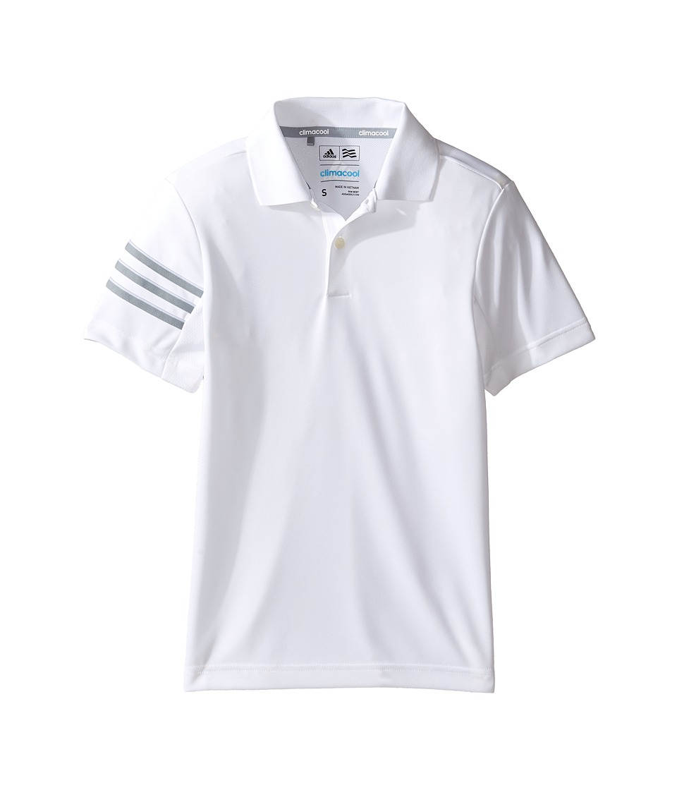 adidas Golf Kids - Climacool 3-Stripes Polo (Big Kids) (White) Boys Clothing