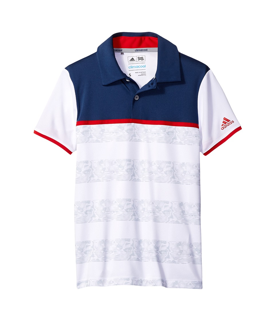 adidas Golf Kids - Camo Stripe Polo (Big Kids) (White) Boys Short Sleeve Pullover