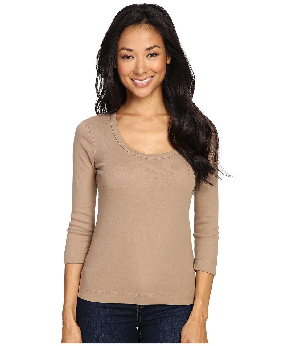 Three Dots 3/4 Sleeve Scoop Neck (Camel B) Women