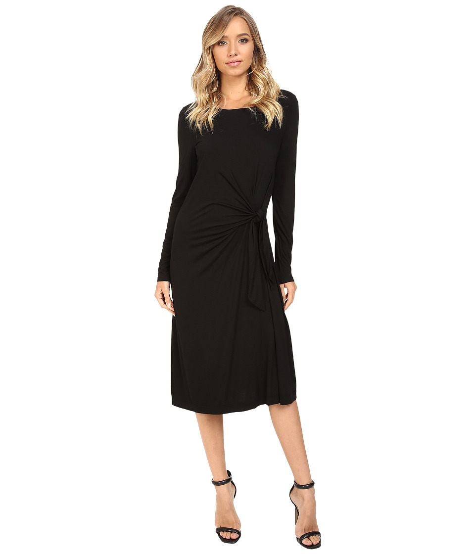 Three Dots Whitney B. Long Sleeve Twist Dress (Black) Women