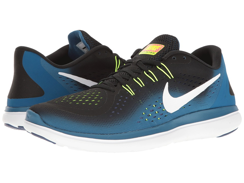 Nike - Flex RN 2017 (Black/White/Industrial Blue/Blue Legend) Mens Running Shoes