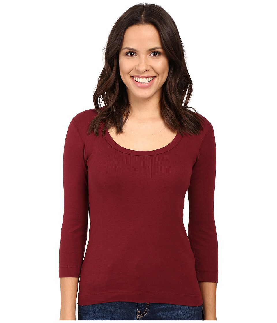 Three Dots 3/4 Sleeve Scoop Neck (Bordeaux) Women