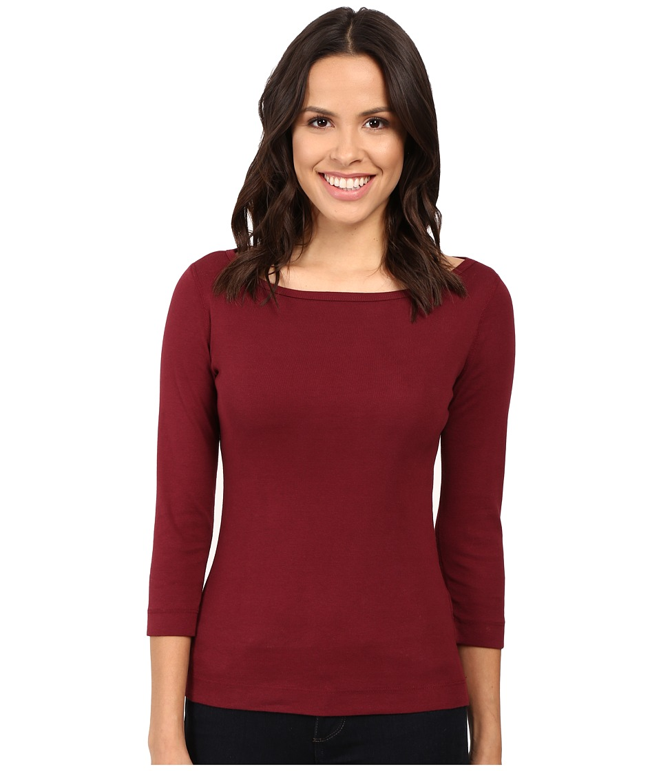 Three Dots 3/4 Sleeve British Tee (Bordeaux) Women