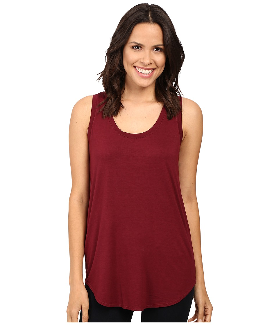 Three Dots Lightweight Viscose Long Tank (Bordeaux) Women