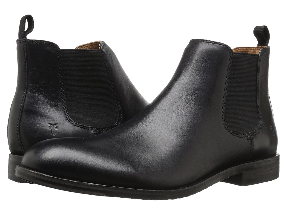 Frye - Sam Chelsea (Black Smooth Antique Pull Up) Mens Pull-on Boots