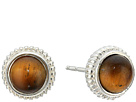 Shinola Detroit Sterling Silver Coin Edge Studs w/ Tiger's Eye Earrings