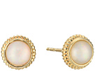 Shinola Detroit 14K Yellow Gold Coin Edge Studs w/ Opal Earrings