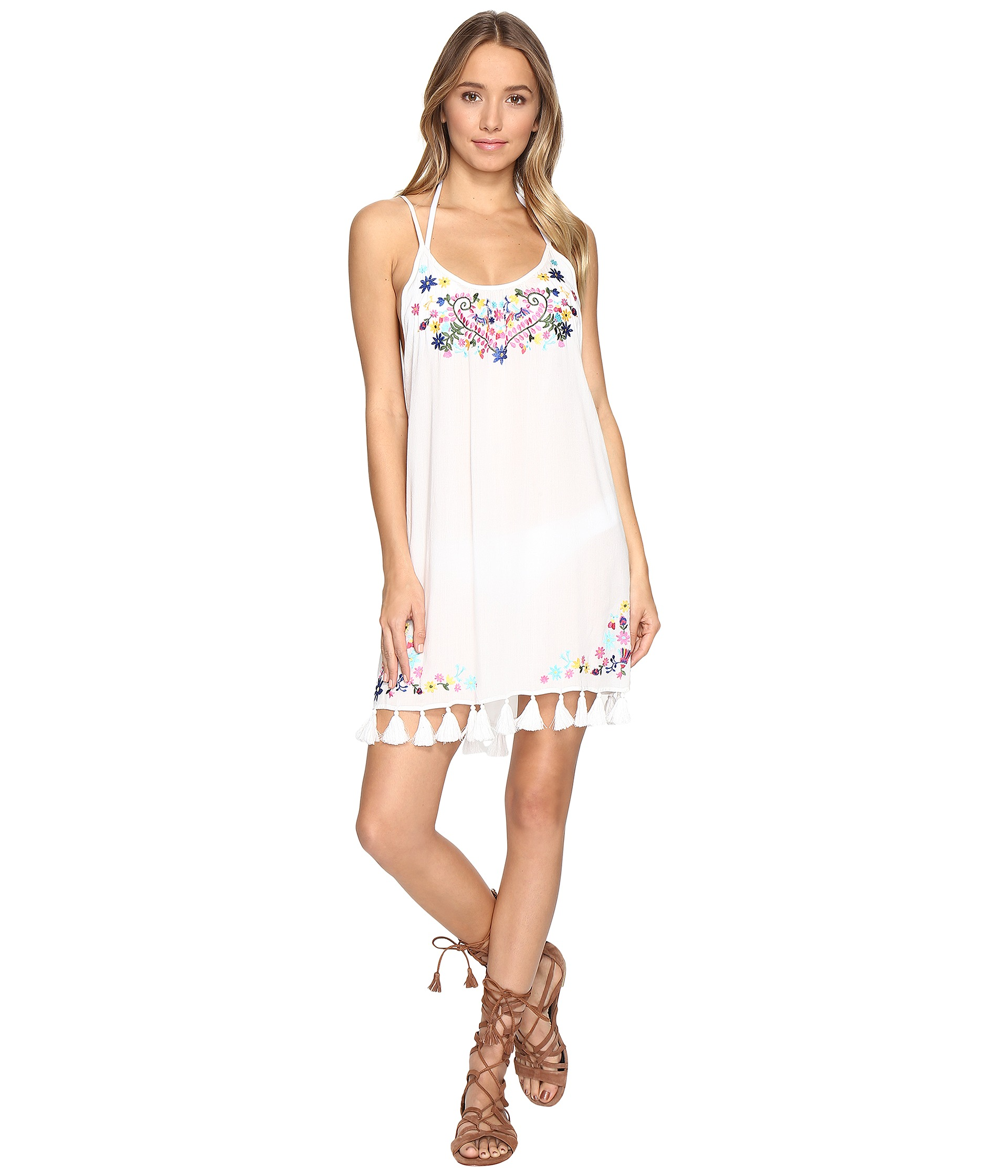 Bindya embroidered floral cover up dress white zappos