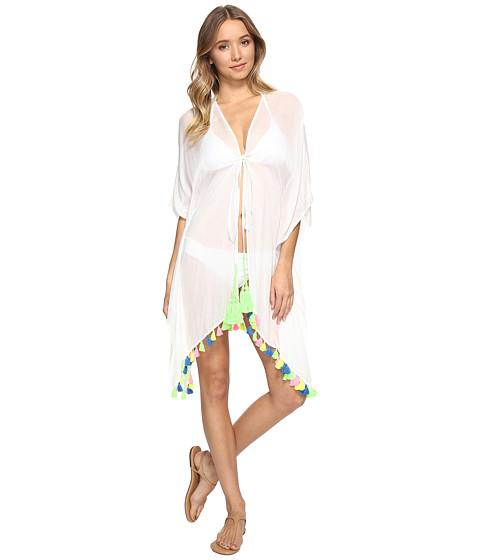 Bindya Neon Tassel Tie Front Kimono - White