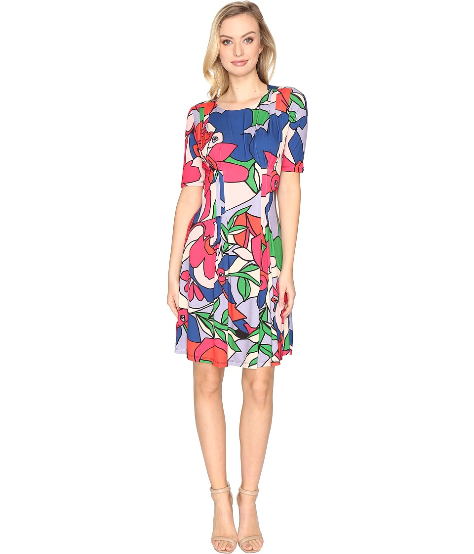CATHERINE Catherine Malandrino Wide Neck Inverted Pleat Dress (Fractal Floral) Women