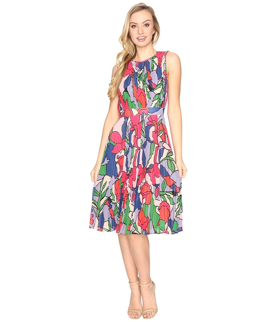 CATHERINE Catherine Malandrino Chiffon Sleeveless Pleated Dress (Fractal Floral) Women