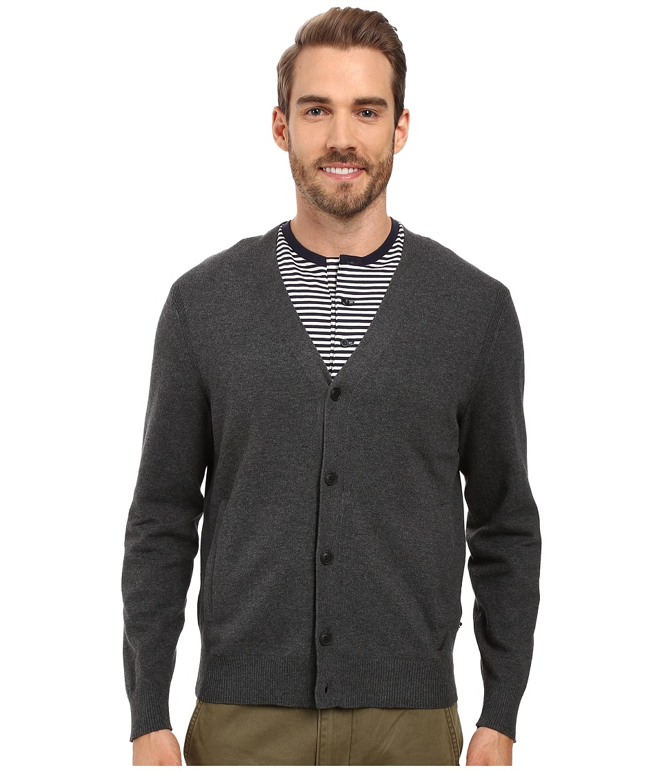 Nautica - 12 Gauge Jersey Cardigan (Charcoal Heather) Men