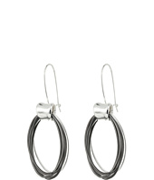 Robert Lee Morris - Silver & Hematite Oval Shepherd's Hook Earrings
