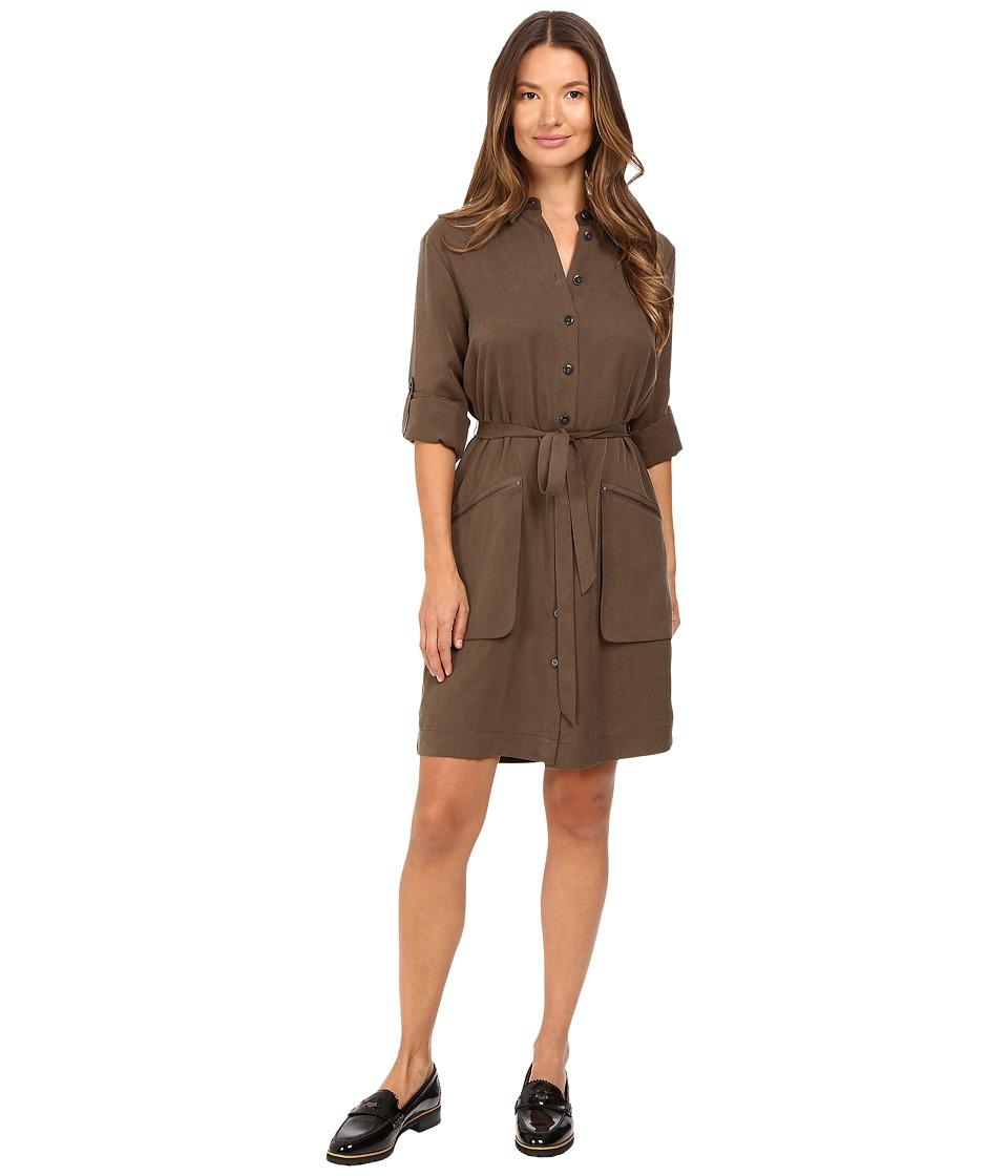 Image of ATM Anthony Thomas Melillo - Belted Shirtdress (Army) Women's Dress