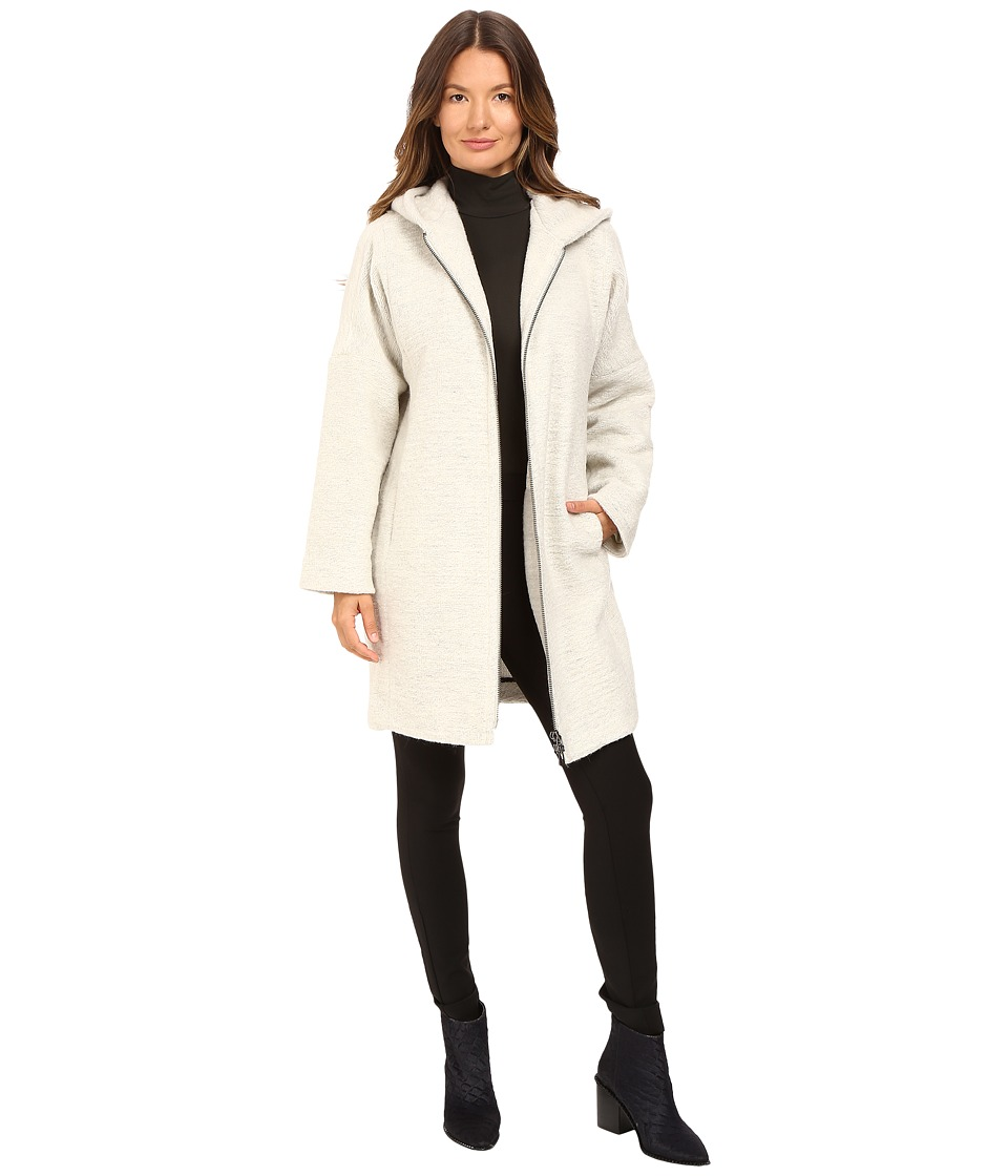 Image of ATM Anthony Thomas Melillo - Cocoon Hooded Zip Coat (Stone) Women's Coat