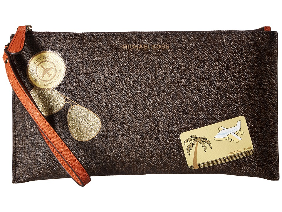 MICHAEL Michael Kors Illustrations Fly Away Large Zip Clutch (Brown/Orange) Clutch Handbags