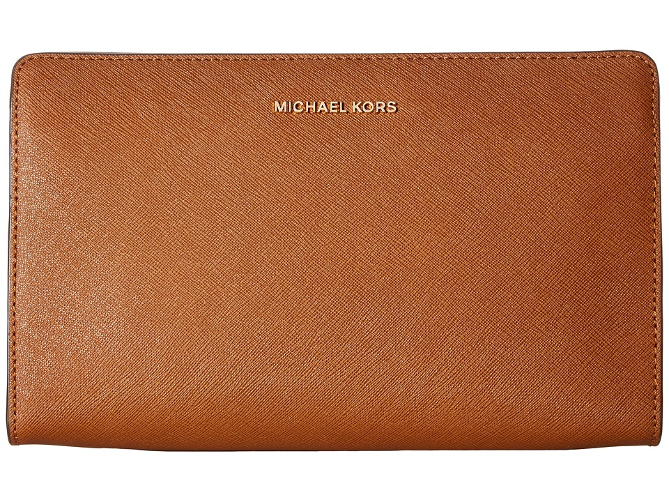 MICHAEL Michael Kors Jet Set Travel Lg Crossbody Clutch (Luggage) Clutch Handbags
