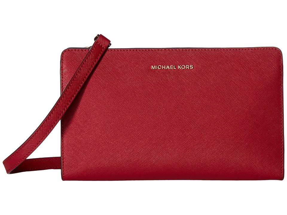 MICHAEL Michael Kors Jet Set Travel Lg Crossbody Clutch (Cherry) Clutch Handbags