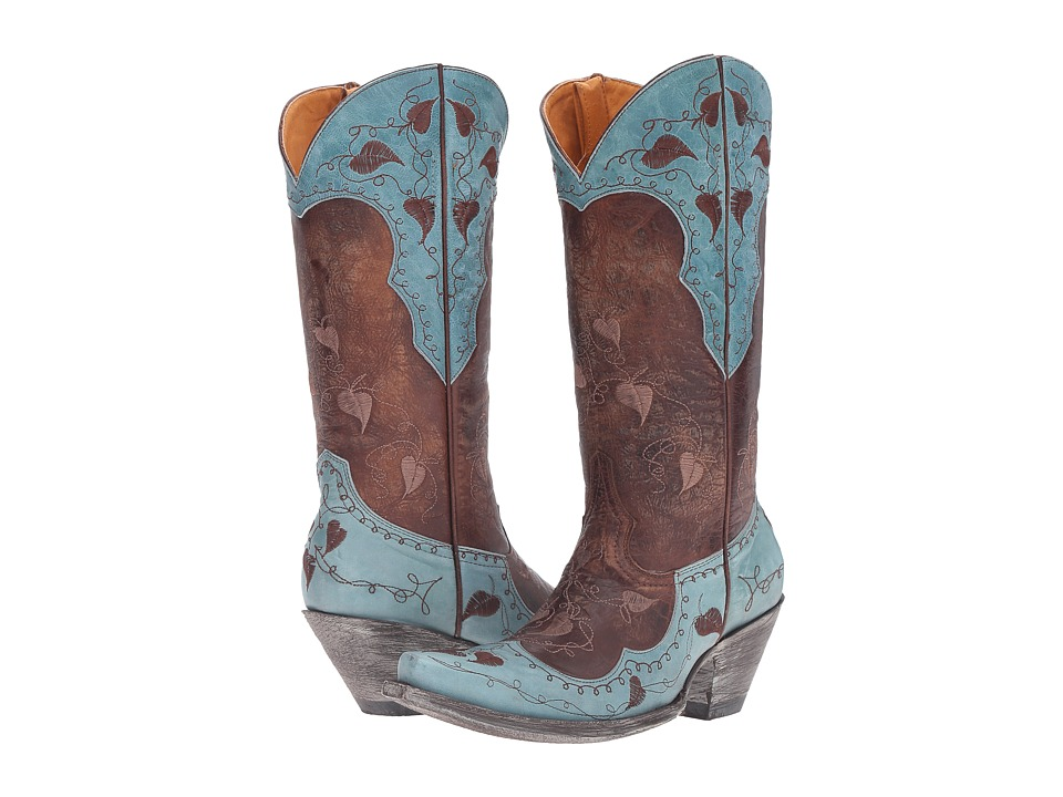 Old Gringo Hearth Leaves (Brass/Blue) Cowboy Boots