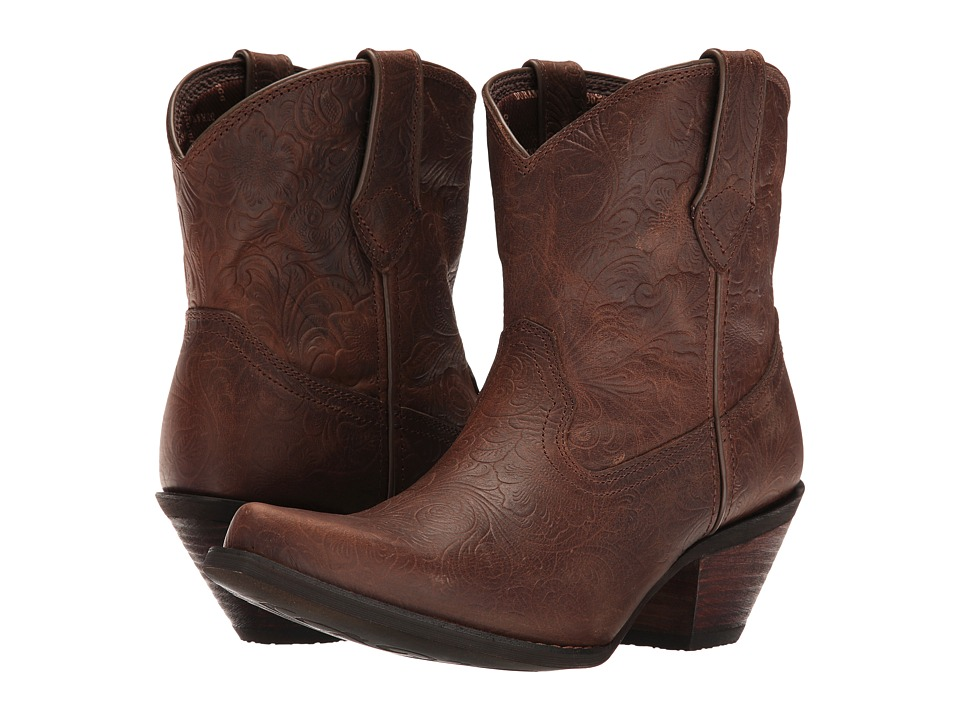 Durango Crush Embossed Bootie (Vintage Brown) Cowboy Boots