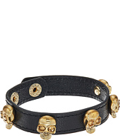 Betsey Johnson - Gold Skull Metal Leather Bracelet