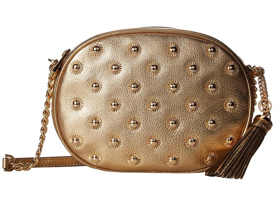 MICHAEL Michael Kors Ginny Studded Medium Messenger (Pale Gold) Messenger Bags