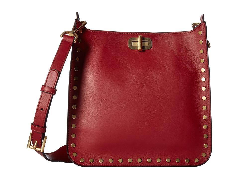 MICHAEL Michael Kors Jenkins Stud Sullivan Medium North/South Messenger (Cherry) Messenger Bags