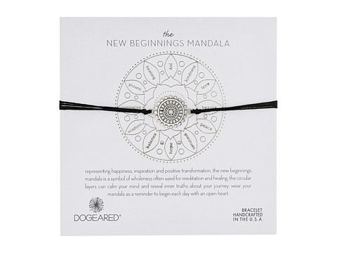 Dogeared New Beginnings Mandala Center Star Silk Bracelet - Sterling Silver/Black