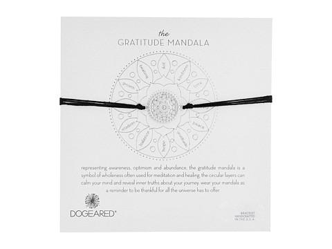 Dogeared Gratitude Mandala Center Flower Silk Bracelet - Sterling Silver/Black