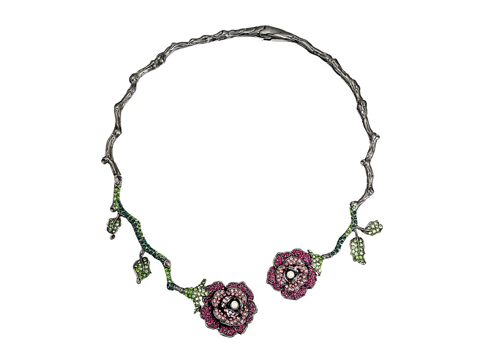 Betsey Johnson - Rose Vine Hard Collar Necklace (Pink Multi) Necklace