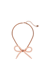 Betsey Johnson - Rose Gold Bow Tube Frontal Necklace