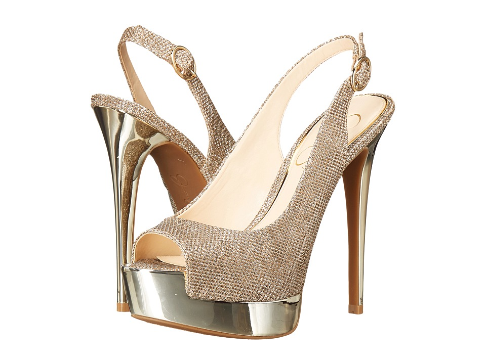 Jessica Simpson Kabale (Gold Sparkle Mesh) High Heels