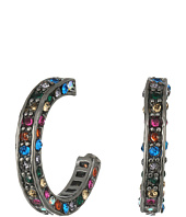 Betsey Johnson - Multi Pave Hoop Earrings