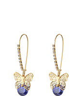 Betsey Johnson - Amethyst Butterfly CZ Shepherd's Hook Earrings