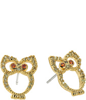 Betsey Johnson - Green Owl CZ Stud Earrings