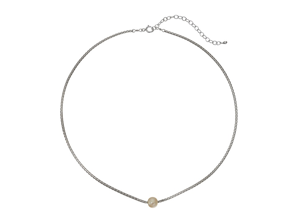 Dogeared Silky Box Chain Choker w/ White Pearl Necklace (...