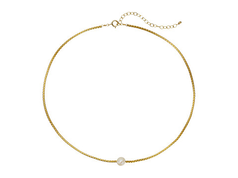 Dogeared Silky Box Chain Choker w/ White Pearl Necklace - Gold Dipped