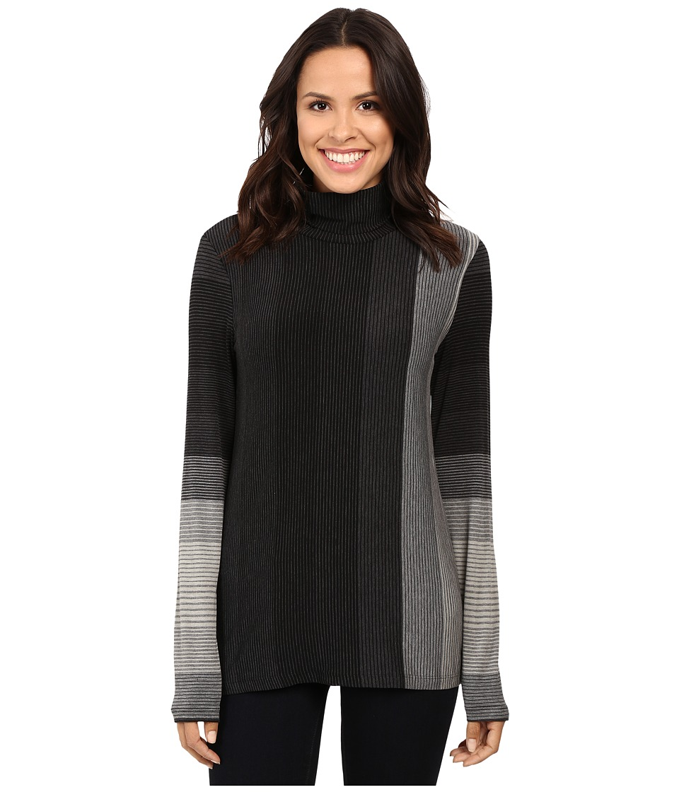 Three Dots Long Sleeve Turtleneck Tee (Charcoal Multi) Women