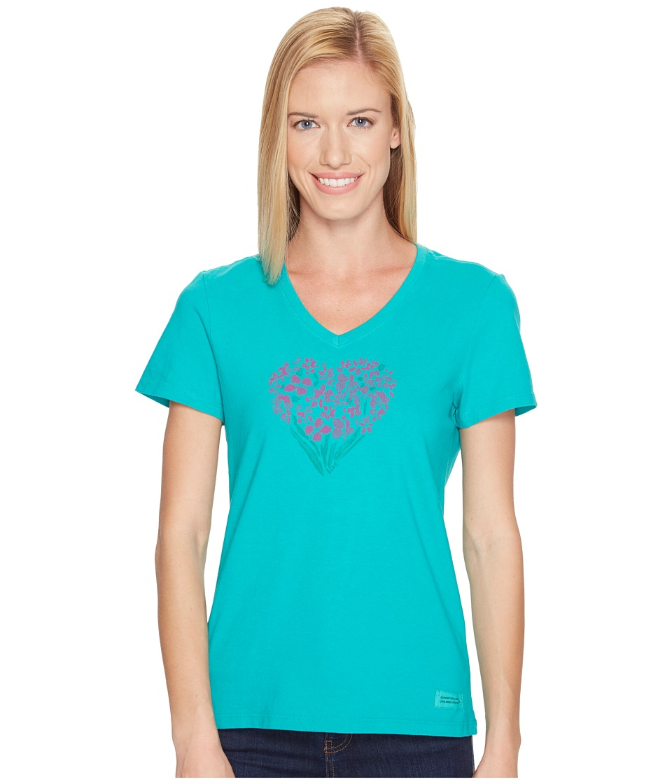 Life is good Floral Heart Crusher Vee (Bright Teal) Women