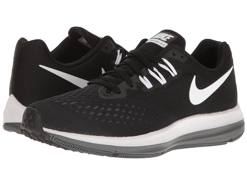 Nike Air Zoom Winflo 4 (Black/White/Dark Grey) Women's Ru...