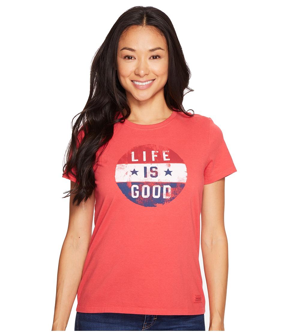 Life is good Flag Circle Crusher Tee (Americana Red) Women