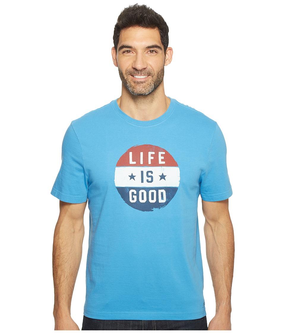 Life is Good Circle Flag Crusher Tee (Marina Blue) Men
